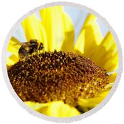 Bee And Flower Round Beach Towel by Les Cunliffe
