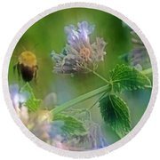 Bee In Catmint Round Beach Towel