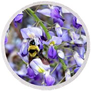 Bee In The Wisteria Round Beach Towel