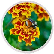 Bee My Friend Miss Marigold Round Beach Towel