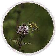 Bee Pollination Round Beach Towel