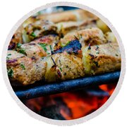 Beef Kababs On The Grill Closeup Round Beach Towel