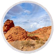 Beehive Rock Formation Under A Stormy Sky In Nevada Valley Of Fire State Park Round Beach Towel