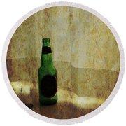 Beer Bottle On Windowsill Round Beach Towel