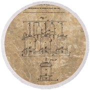 Beer Brewery Patent Illustration Round Beach Towel