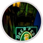 Beer Fest And Lamp Round Beach Towel