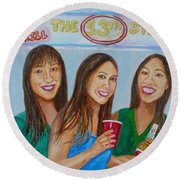 Beer Pong Champs Round Beach Towel