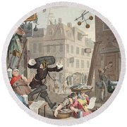 Beer Street, Illustration From Hogarth Round Beach Towel
