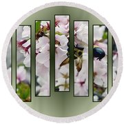 Bees And Blossoms Round Beach Towel