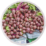Beets At The Farmers Market Round Beach Towel