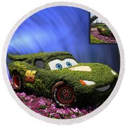 Before And After Sample Art 29 Floral Lightning Mcqueen Round Beach Towel by Thomas Woolworth
