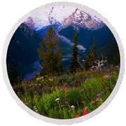Before Dawn At Mount Rainier Round Beach Towel