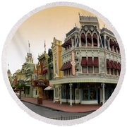 Before The Gates Open Early Morning Magic Kingdom With Castle. Round Beach Towel