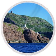 Behind Fort Amherst Rock By Barbara Griffin Round Beach Towel