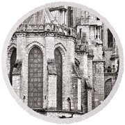 Behind The Cathedral Round Beach Towel