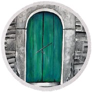 Behind The Green Door Round Beach Towel