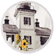 Behind The Lighthouse  Round Beach Towel