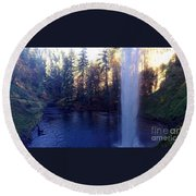 Behind Water Fall  Round Beach Towel