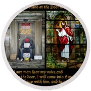 Behold I Stand At The Door And Knock Composite Round Beach Towel