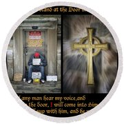 Behold I Stand At The Door Composite Round Beach Towel