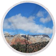 Behold The Blue Sky Round Beach Towel