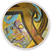 Being Easy Original Abstract Colorful Figure Painting For Sale Yellow Umber Blue Pink Round Beach Towel