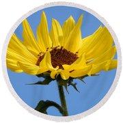 Bright Yellow Happy Sunshine Round Beach Towel