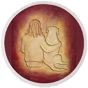 Being There 3 - Dog And Friend Round Beach Towel