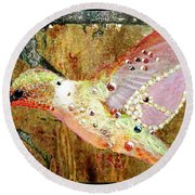 Bejeweled Hummingbird Round Beach Towel
