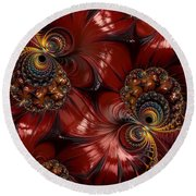 Bejewelled Crimson Round Beach Towel