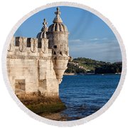 Belem Tower Fortification On The Tagus River Round Beach Towel