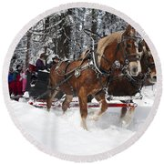 Belgian Draft Horses Pulls A Sleigh In Yosemite National Park Round Beach Towel