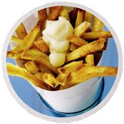 Belgian Fries With Mayonnaise On Top Round Beach Towel