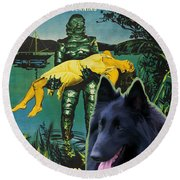 Belgian Shepherd Art Canvas Print - Creature From The Black Lagoon Movie Poster Round Beach Towel