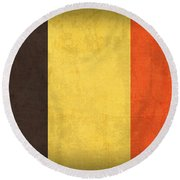 Belgium Flag Vintage Distressed Finish Round Beach Towel by Design Turnpike