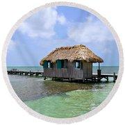 Belize Pier And Seascape Round Beach Towel