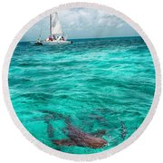 Belize Turquoise Shark N Sail  Round Beach Towel