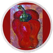 Red Bell Pepper Takes Center Stage Round Beach Towel