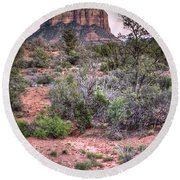 Bell Rock At Dusk Round Beach Towel