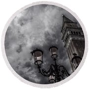 Bell Tower And Street Lamp Round Beach Towel