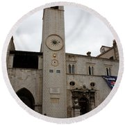 Bell Tower At Luza Square Round Beach Towel
