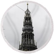 Bell Tower At Oude Kerk Amsterdam Round Beach Towel