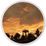 Bell Tower At Sunset Round Beach Towel
