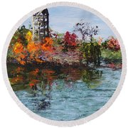 Bell Tower At The Botanic Gardens In Autumn Round Beach Towel