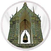 Bell Tower In Wat Po In Bangkok-thailand Round Beach Towel