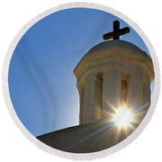 Bell Tower Sun Burst  Tumacacori Mission Round Beach Towel