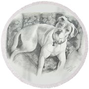 Bella My Pup Round Beach Towel by Joette Snyder