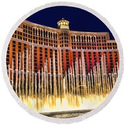 Bellagio Water Show Round Beach Towel