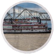 Belle Of Cincinnati  Round Beach Towel