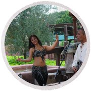 Belly Dancer And Performer At Morocco Pavilion Round Beach Towel